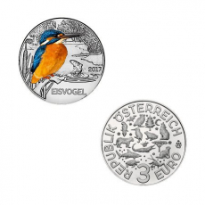 3 EURO Tier-Taler Eisvogel Österreich 2017