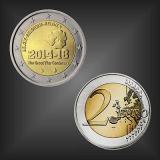 2 EURO 100 Jahre 1. Weltkrieg Belgien 2014