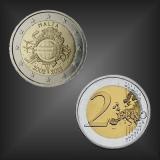 2 EURO 10 Jahre EURO Bargeld Malta 2012