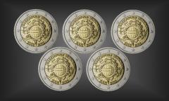 Satz 5 x 2 EURO 10 Jahre EURO Bargeld BRD 2012